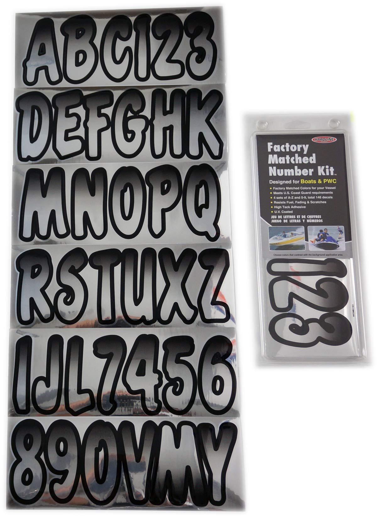 Hardline Products CHBKG200 Chrome/Black HARD LETTER-NUMBER KIT CHR-BLK