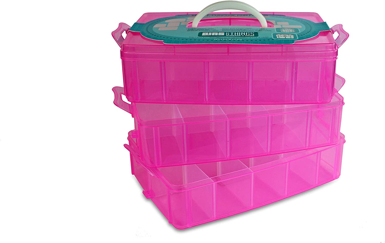 Pink 4 Tier Bins /& Things Storage Container with 30 Adjustable Compartments for Storing /& Organizing Sewing Embroidery Threads
