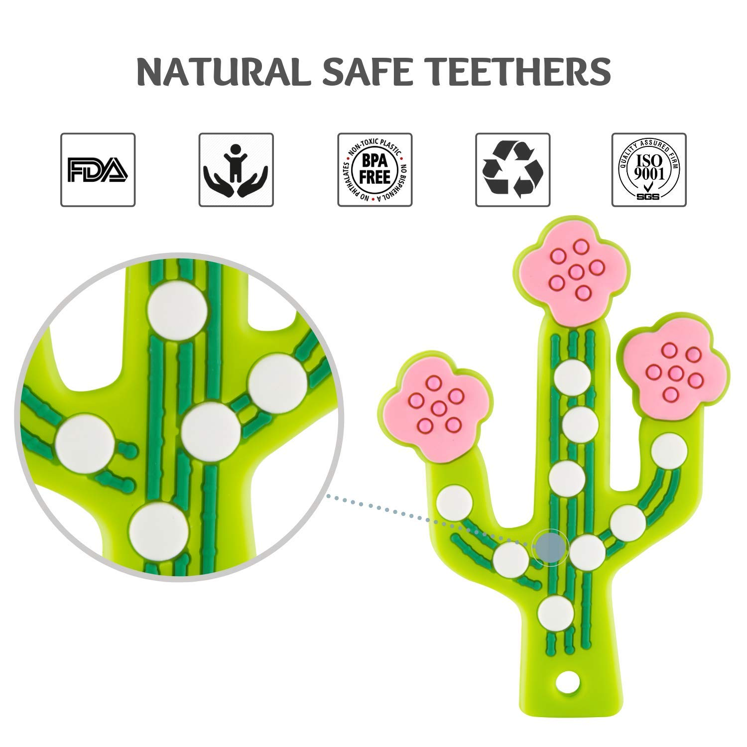 Green Baby Teething Toys Babies Boys Soft Silicone Teether Toy BPA-Free Cactus Teething Relief Girls Dishwasher-Safe for Toddlers /& Infants