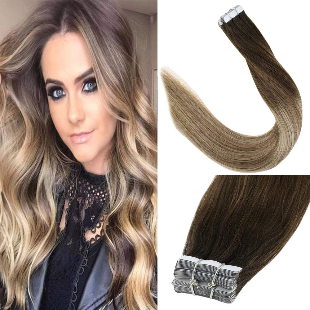 LaaVoo 16'' Virgin Brazilian Human Hair Tape in Hair Extension For Women Ombre Balayage Darker Brown and Light Brown with Medium Blonde 20Piece 50g by LaaVoo