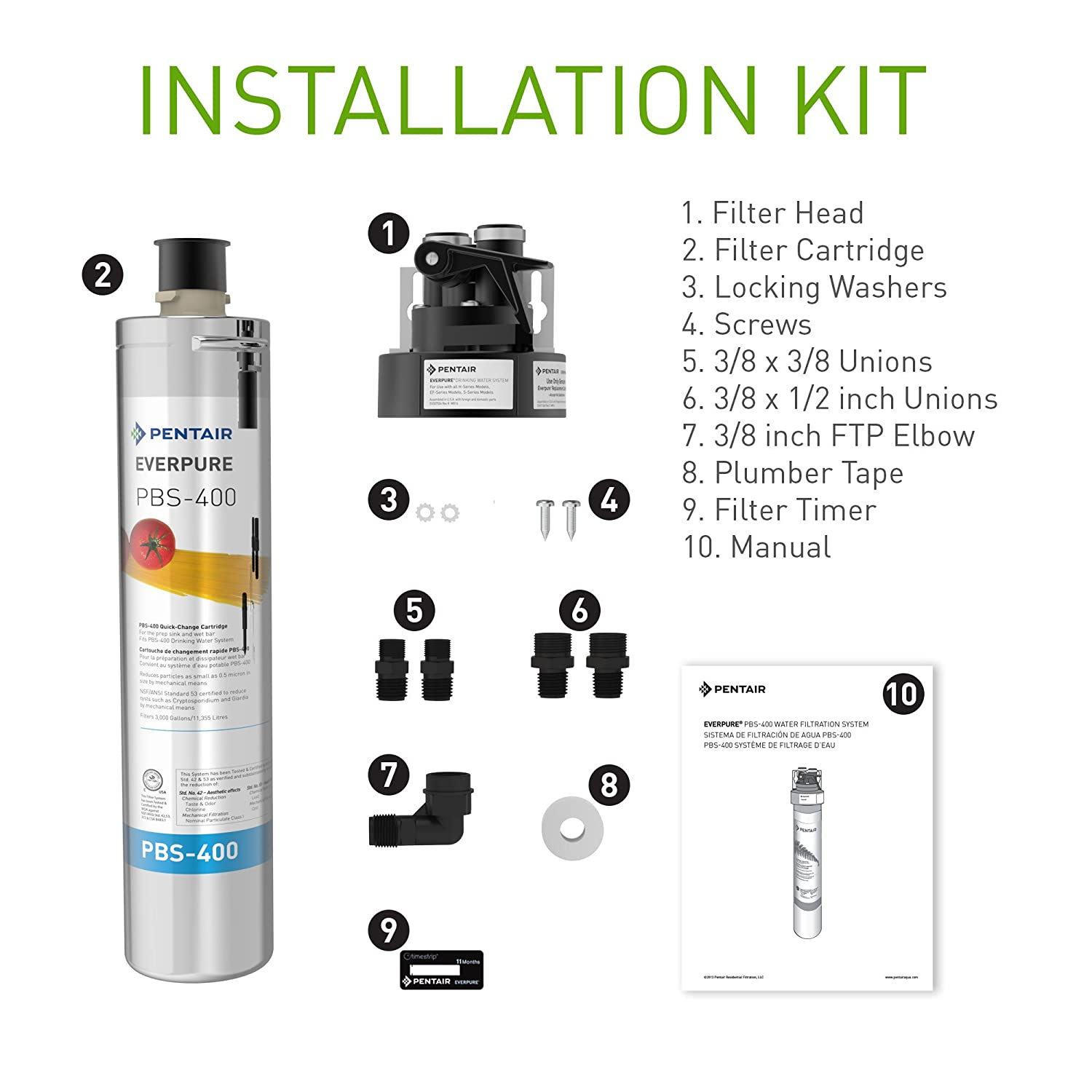 Everpure PBS-400 Drinking Water Filter System for Prep Sink and Wet Bar  (EV9270-85). Quick Change Cartridge System. Commercial Grade Water  Filtration and ...