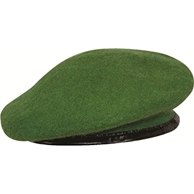 02fa157e8c3b45 Military Pure Wool Army Green Beret Medium Cap: Amazon.co.uk: Clothing