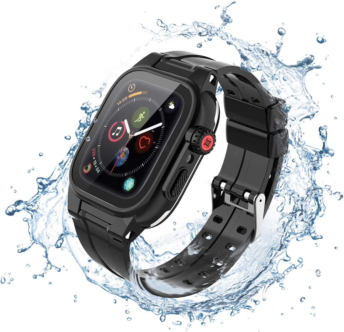 LONTECT Compatible for Apple Watch Series 5/4 44mm Waterproof Case with Band IP68 Shockproof Full Body Protective with Screen Protector Rugged iWatch Case + Soft Silicone Sport Band, Black