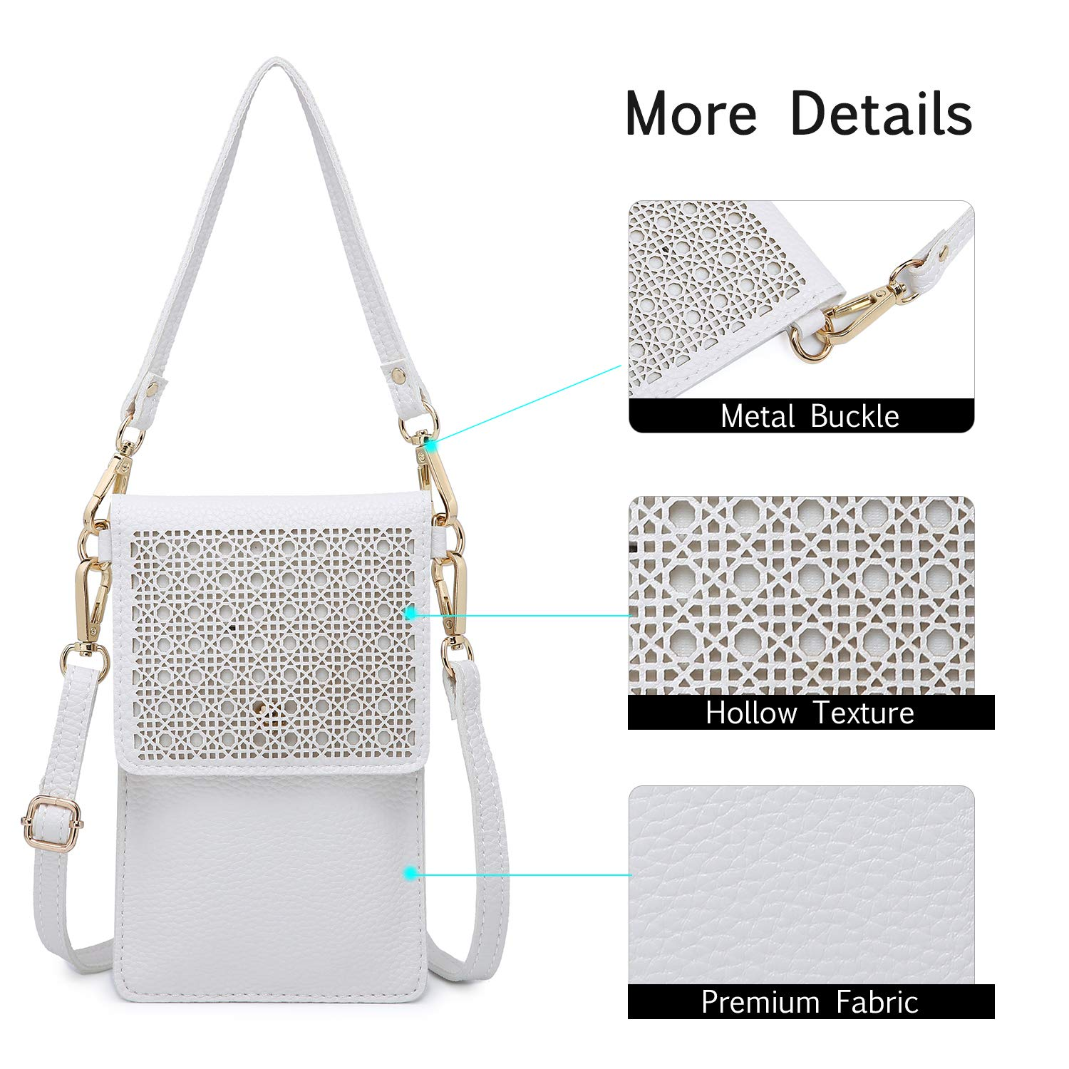 8c96c491f22f seOSTO Small Crossbody Bag Cell Phone Purse Wallet with 2 Shoulder Strap  Handbag for Women Girls (White) - AAC-Bag-apricot   Crossbody Bags    Clothing