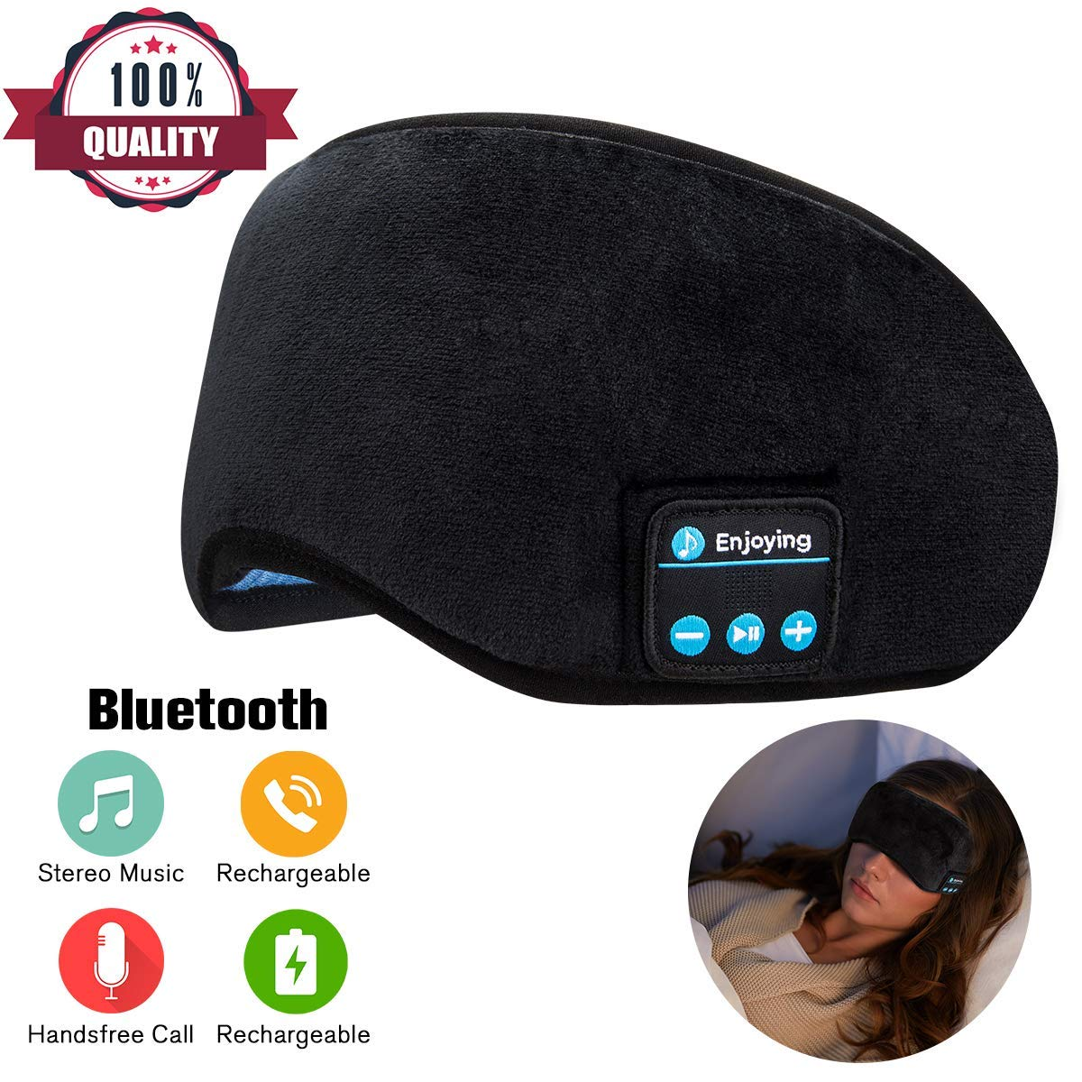 Sleep Headphones,Wireless Sleeping Headphones Bluetooth Sleep Headphones Stereo Sleep Mask Headphones Bluetooth Sleep Eye Mask Headphones for Sleeping Music Travel Headphones Headset with Microphone