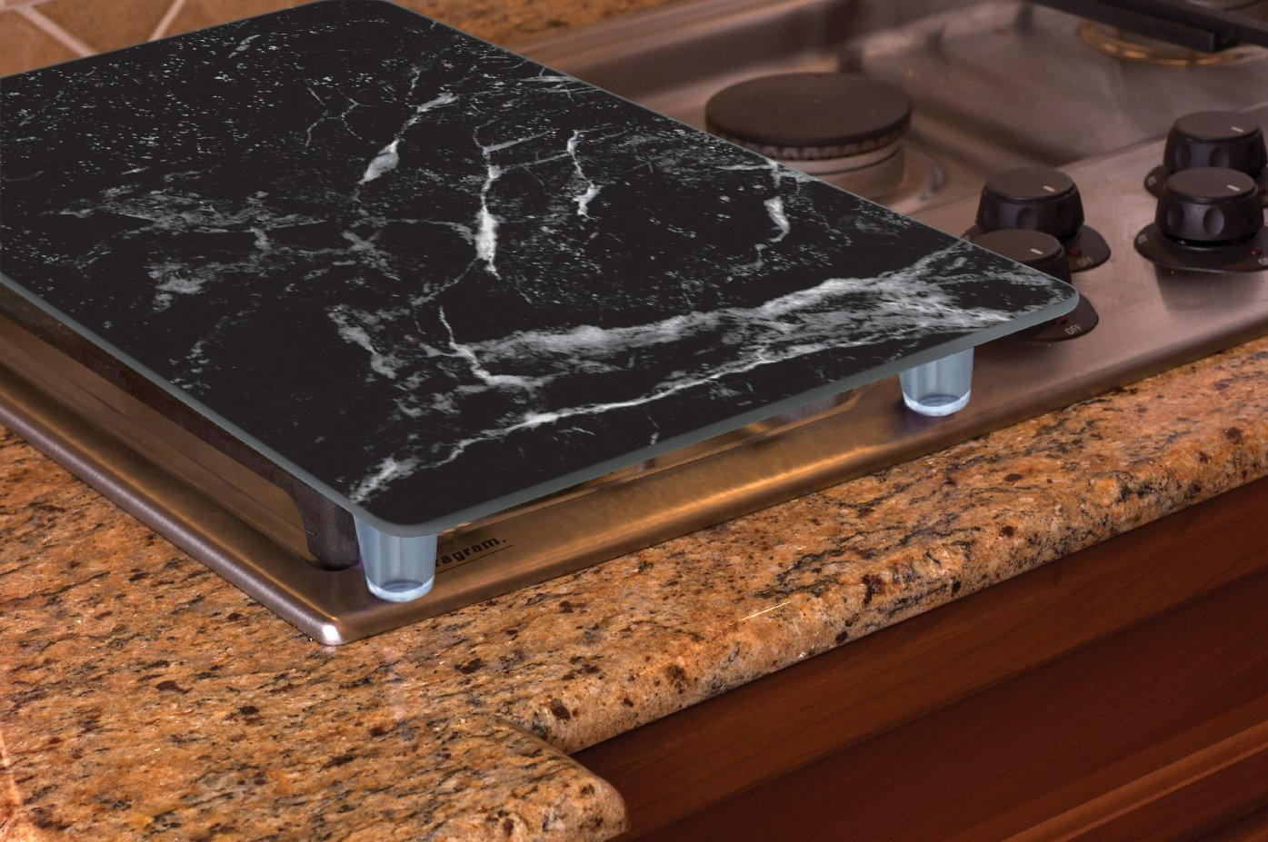 CounterArt 27078 Black Marble Design Tempered Glass Instant Counter