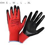Pandamoto 24 Pairs Work GlovesOf New Nitrile Coated Safe Gloves Construction Gardardening (10XL, 24pairs Red/Black)