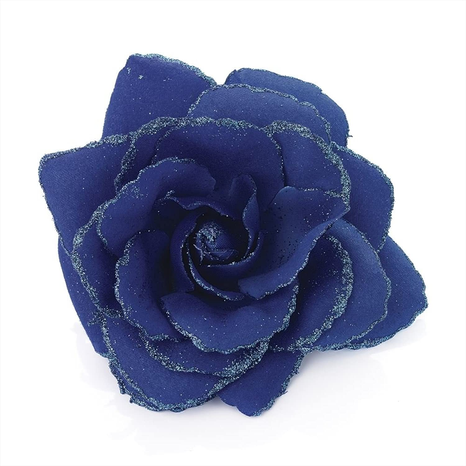 Large Royal Blue Glitter Edge Rose Flower Hair Elastic Band and Beak Clip Fascinator by Pritties Accessories