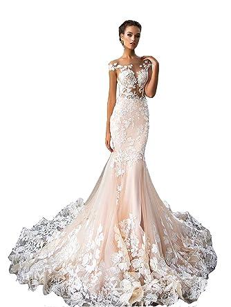 huge discount 2bd29 096d9 NUOJIA Damen Lang Meerjungfrau Hochzeitskleider Champagner mit Blumen  Appliques Tüll Brautkleider Rücken