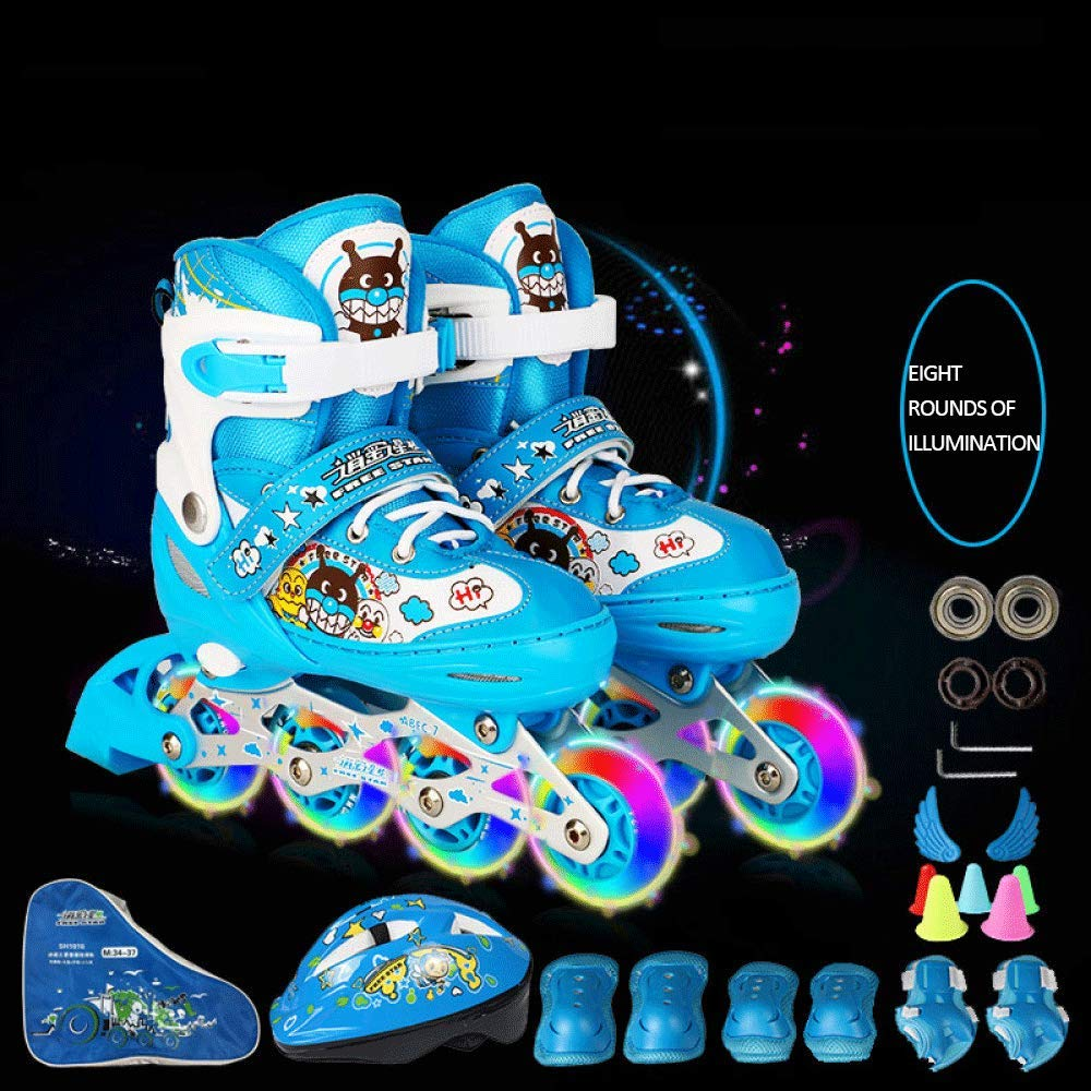 bleu grand LEBEE Patins à roulettes Réglables Patins à roulettes Chaussures à roulettes Ensemble Complet pour Enfants,bleu-M