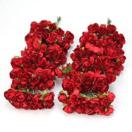 Amazon 144pc chic mini artificial paper rose flower wedding 144pc chic mini artificial paper rose flower wedding card decor craft diy red mightylinksfo
