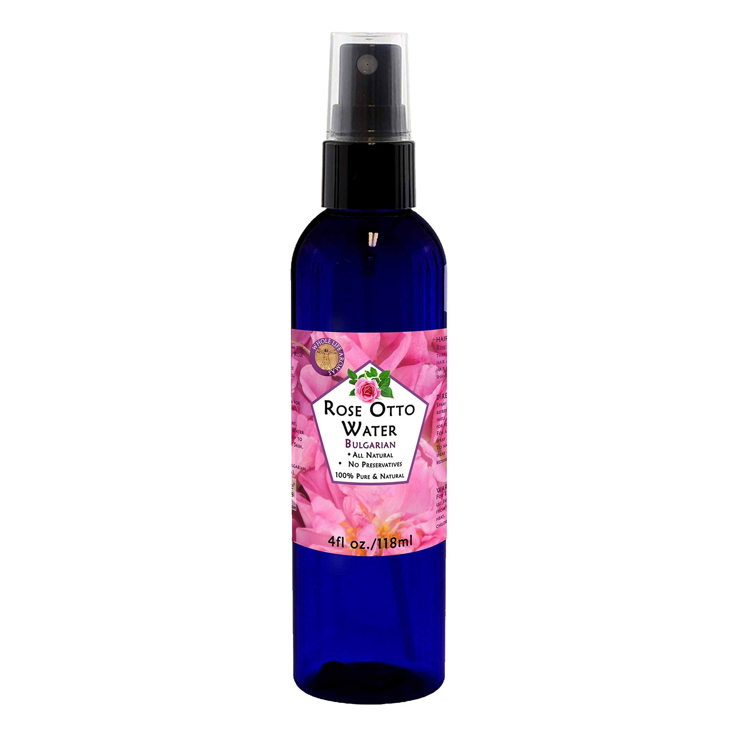 100% Pure Rose Water Hydrosol Hydrating Spray Toner and Balancing Mist for your Face. Finest Bulgarian Rose Otto - Rose Damascena - Quality Therapeutic Grade 4oz.