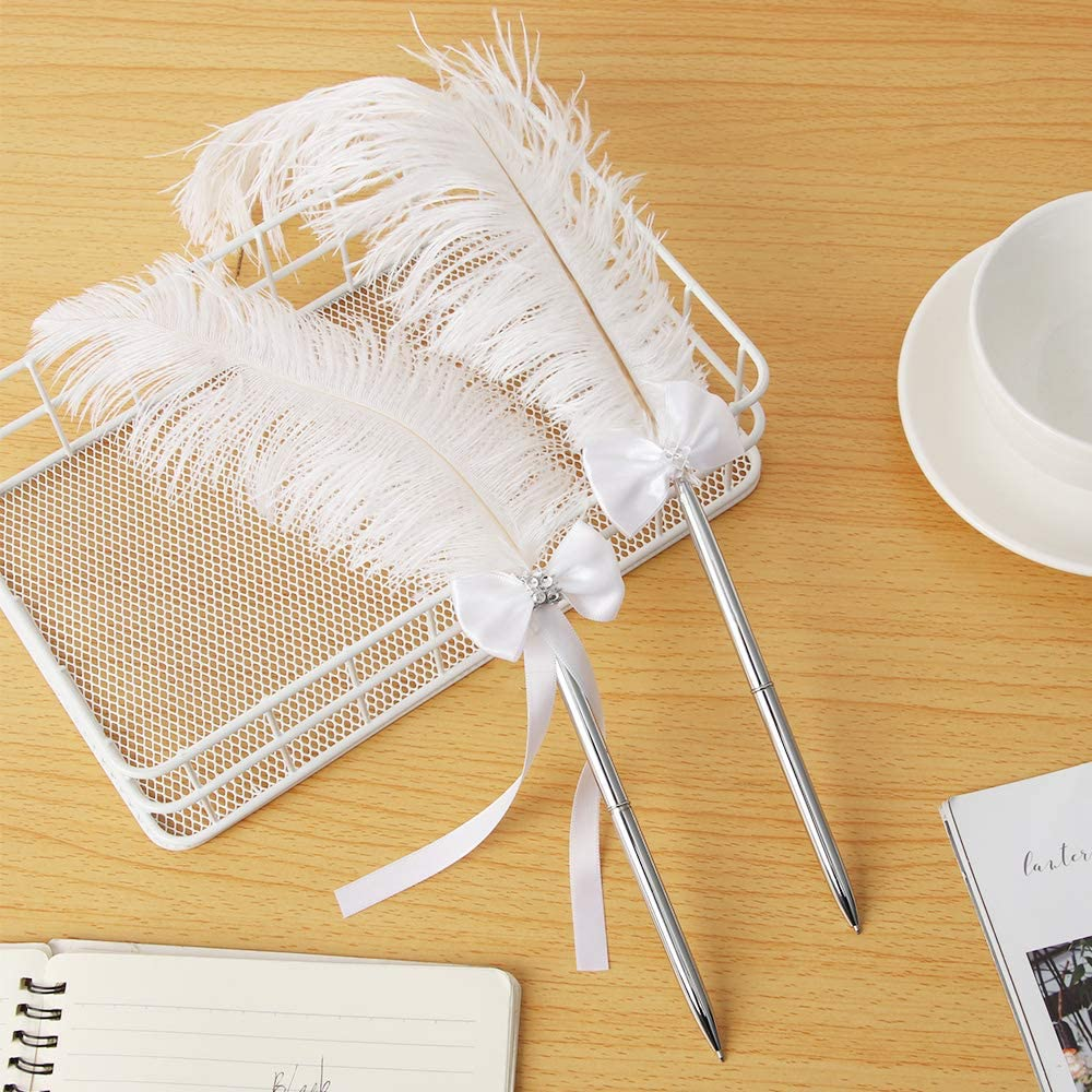 Feather Pen Black Ink Ballpoint Pen Wedding Guest Book Signing Pen Bridal Shower Gift Silver