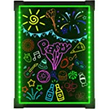 """Woodsam Led Writing Board- 28"""" X 20"""" Erasable Message Drawing Neon Sign with 8 Colorful Markers - Perfect for Children, Back"""