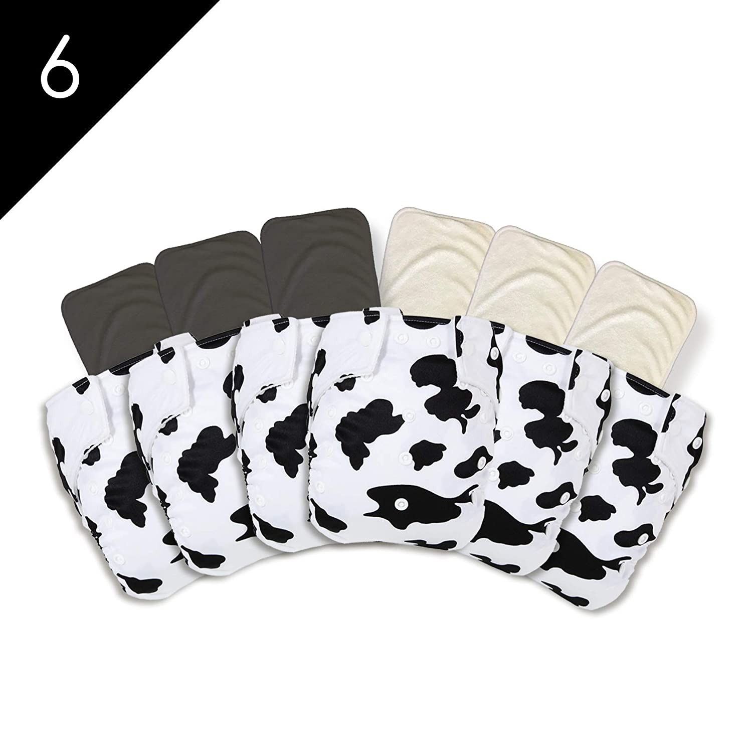 6/Pack Good Night Heavy Wetter Cloth Diapers with 6/Pack Bamboo Inserts (3 Bamboo and 3 Bamboo Charcoal) Holstein Cow
