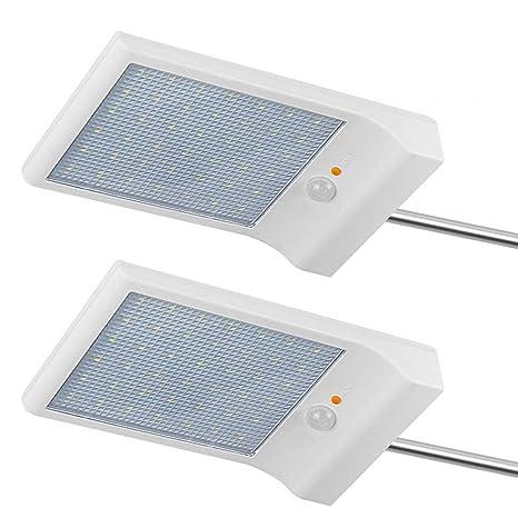 Lámpara solar Luces Jardín 42 LED solares exterior foco led sensor de movimiento 2 Piezas 6000KImpermeable