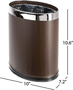 Brelso 'Invisi-Overlap' Metal Trash Can, Open Top Small Office Wastebasket, Oval Shape (Wood Look)