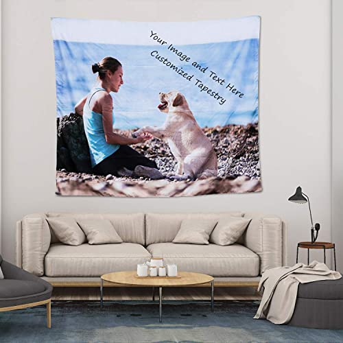 Personalized Image Tapestry Wall Customize Your Picture and Text Print, Custom Tapestry for Pets and Family, Suitable for Decorations for Living Room and Bedroom Birthday Wedding Gift 70 W X 90 L