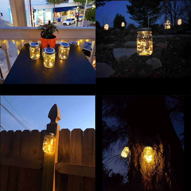 Solarlampen Au/ßen infinitoo Solarglas 20er led Kupferdraht leuchten Au/ßen Garten Laterne Solarleucht Wasserdichte Garten H/ängeleuchten led solar licht Einmachglas