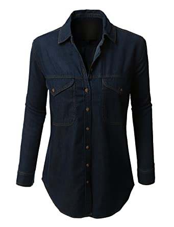 54c45e28 LE3NO Womens Boyfriend Button Down Denim Shirt with Pockets: Amazon.co.uk:  Clothing