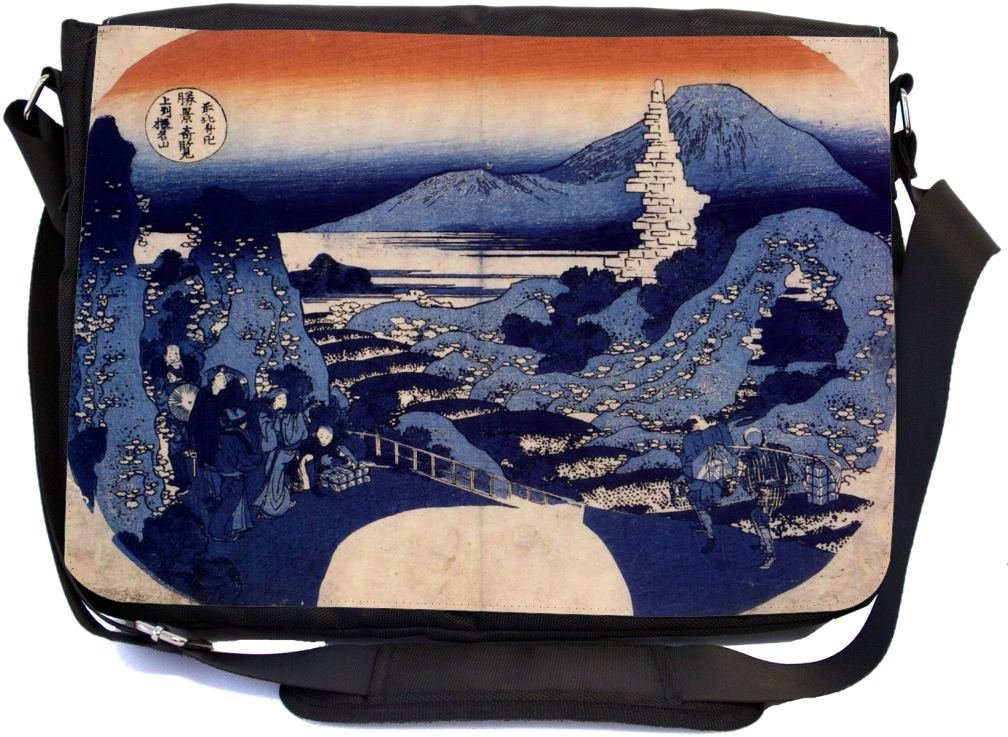 well-wreapped Rikki Knight Katsushika Hokusai Art Mount Haruna Design Multifunctional Messenger Bag - School Bag - Laptop Bag - with padded insert for School or Work - Includes Matching Compact Mirror