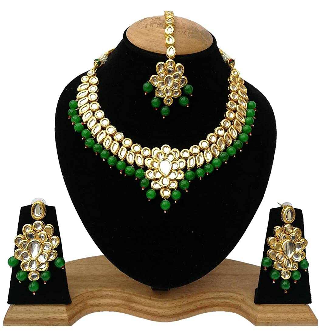 Finekraft Meena Kundan Bridal Wedding Designer Gold Plated Green Color Necklace Jewelry Set