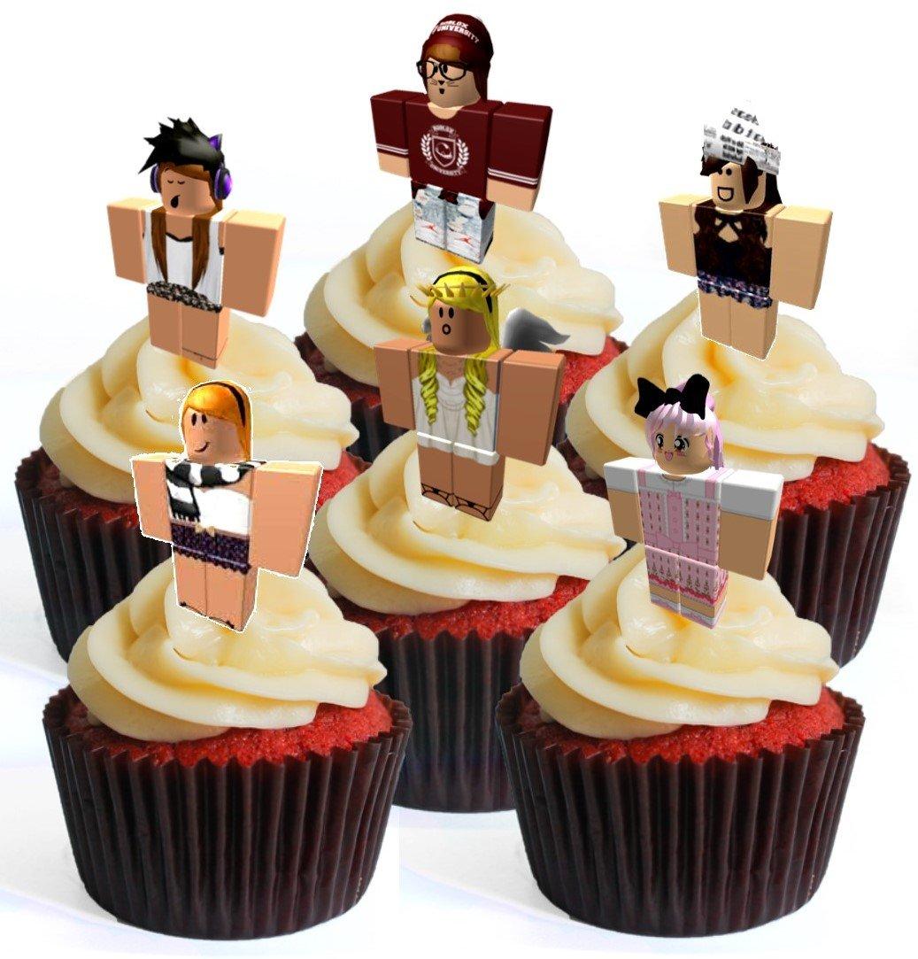 12 robotes de personajes de chica # 4 prélula adornos comestibles para cupcakes – oblea de pie para decoración de tartas