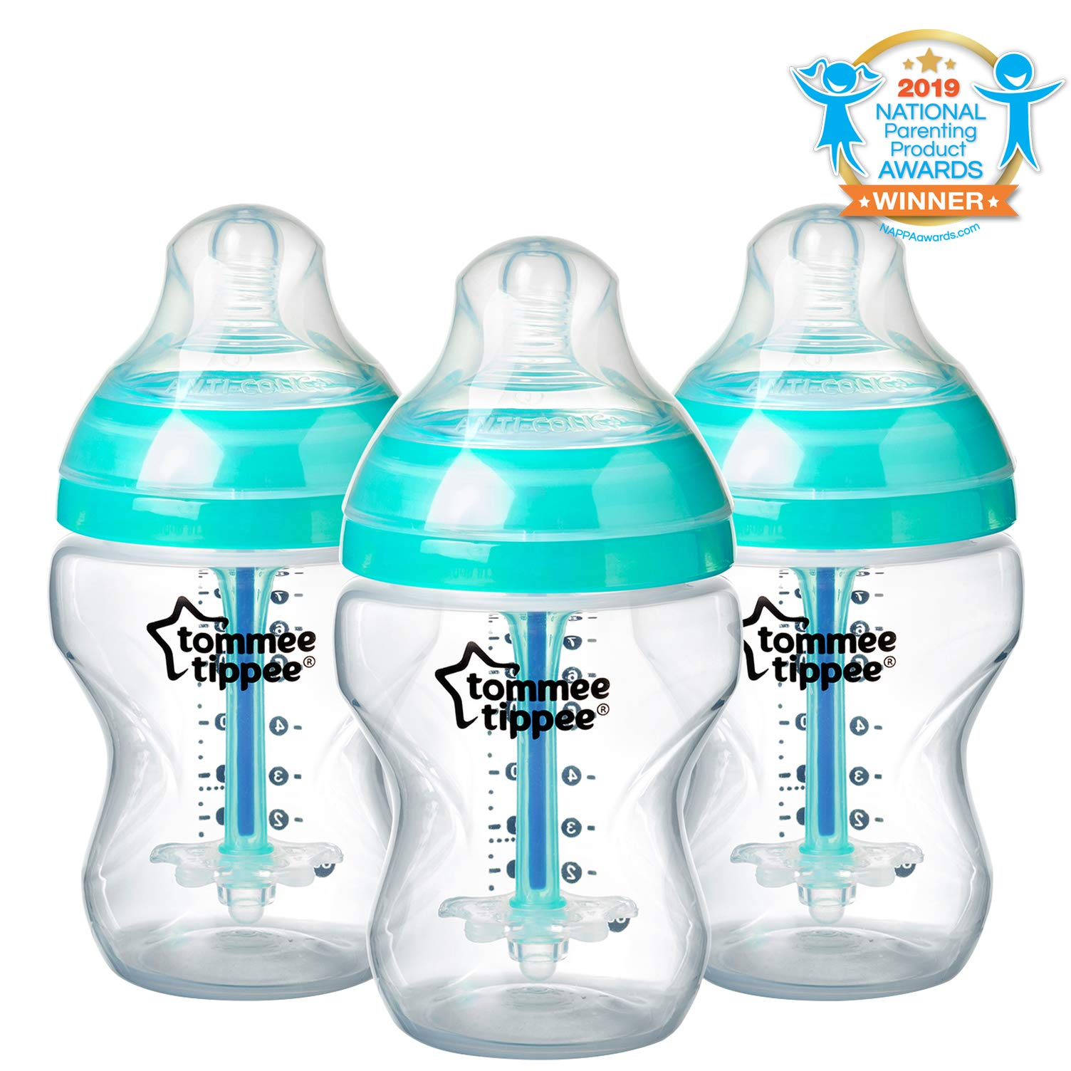 Tommee Tippee Advanced Anti-Colic Baby Bottle Feeding Set, Heat Sensing Technology, Breast-like Nipple, BPA-Free - 9 ounce, 3 Count by Tommee Tippee