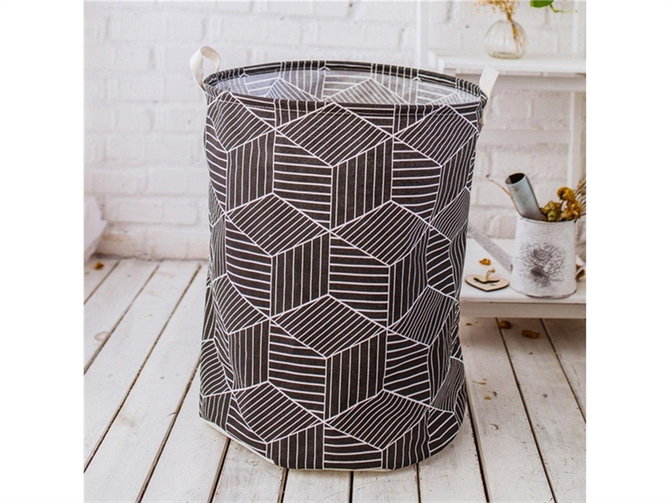 Gelaiken Lightweight Cube Pattern Storage Box Laundry Basket Cotton and Linen Storage Box (Black)