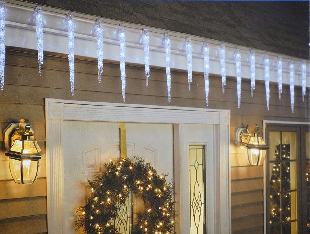 GE Twinkling LED Crystal Icicle Decorative Holiday Lights - 19 Icicle Count/Set - 9ft/2.5m
