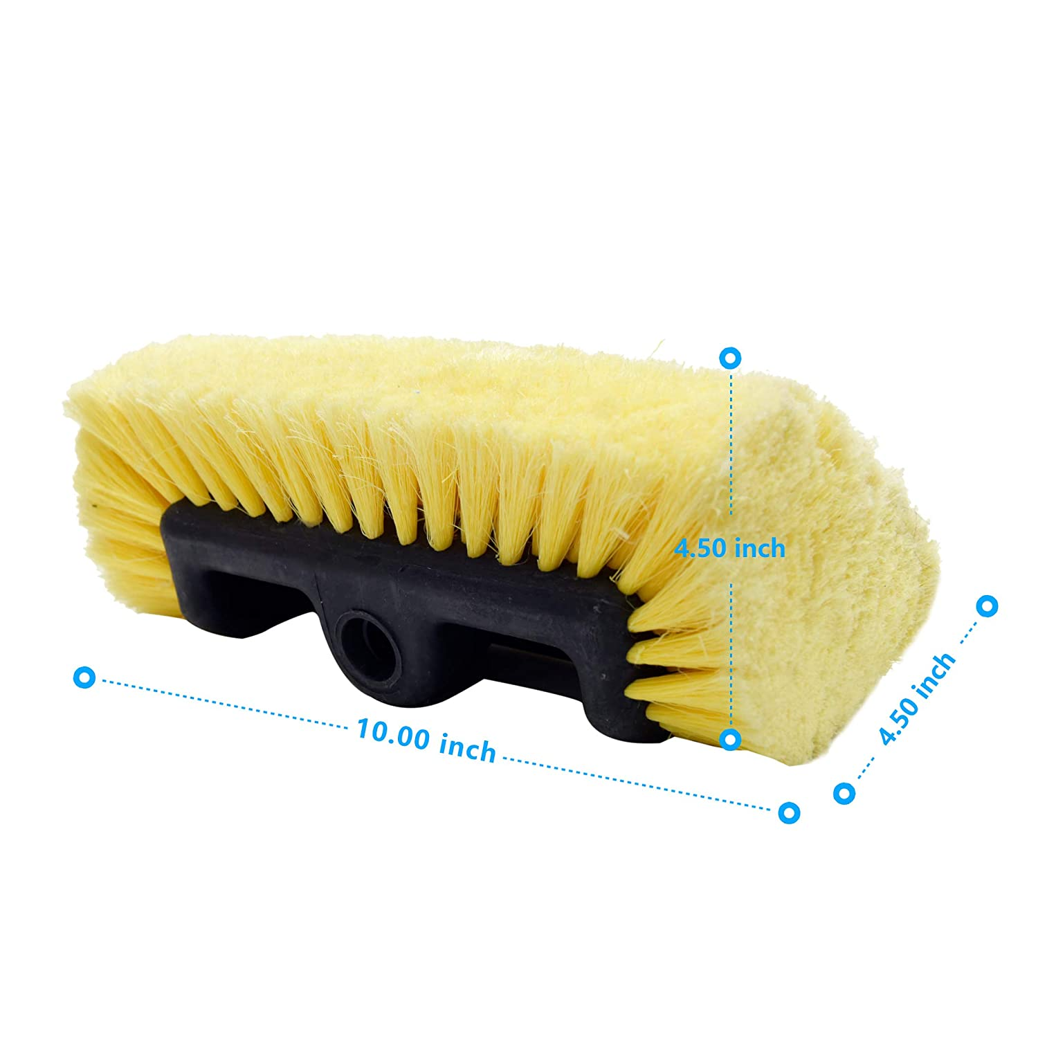 CARCAREZ Flow Thru Dip Car Wash Brush Head with Soft Bristle for Auto RV  Truck Boat Camper Exterior Washing Cleaning, 10 inch
