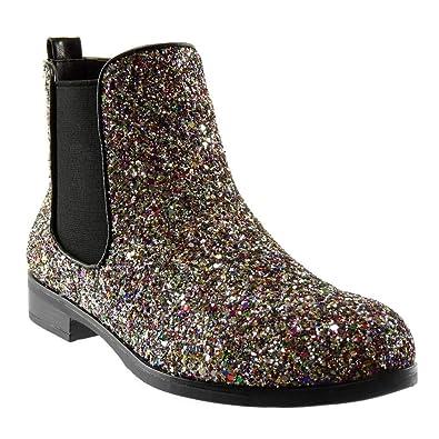 Angkorly Damen Schuhe Stiefeletten Slip on Chelsea Boots Abend Glitzer glänzende Flashy Blockabsatz 2.5 cm