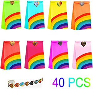 40 Pieces Rainbow Party Bags Christmas Candy Bags with 100 Heart Stickers Kraft Paper Favor Bag Paper Candy Goody Small Bag ,Kids Birthday Parties, Wedding, Carnivals, Celebrations, Classroom Christmas Party Supplies Prime