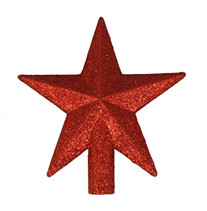 "amazon com kurt adler 4"" petite treasures red glittered mini starkurt adler 4u0026quot; petite treasures red glittered mini star christmas tree topper unlit"