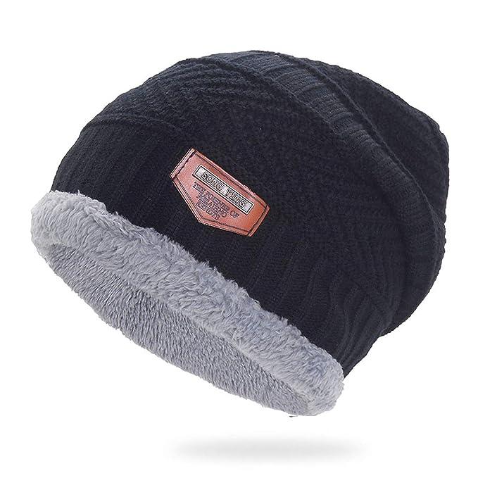 643479e98 Amazon.com: Acrylic Velvet Beanie Hat Winter Warm Male Knitted Caps ...