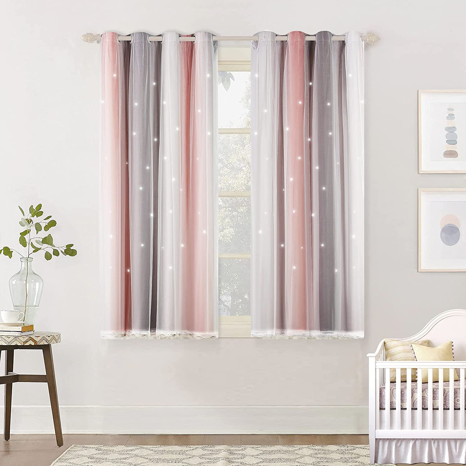 TAOCOCO Eyelet Curtains Starry Sky Curtains for Living Room Double Layer Home Decorative 54 * 46 inches 1 PANEL Starry Sky-pink Grey 1 PANEL-54*46 Inch