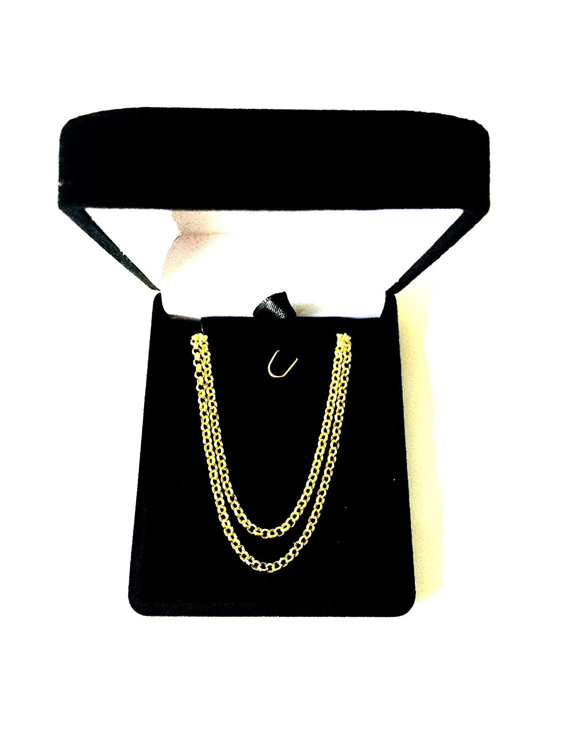 14k Yellow Gold Round Rolo Link Chain Necklace 2.3mm