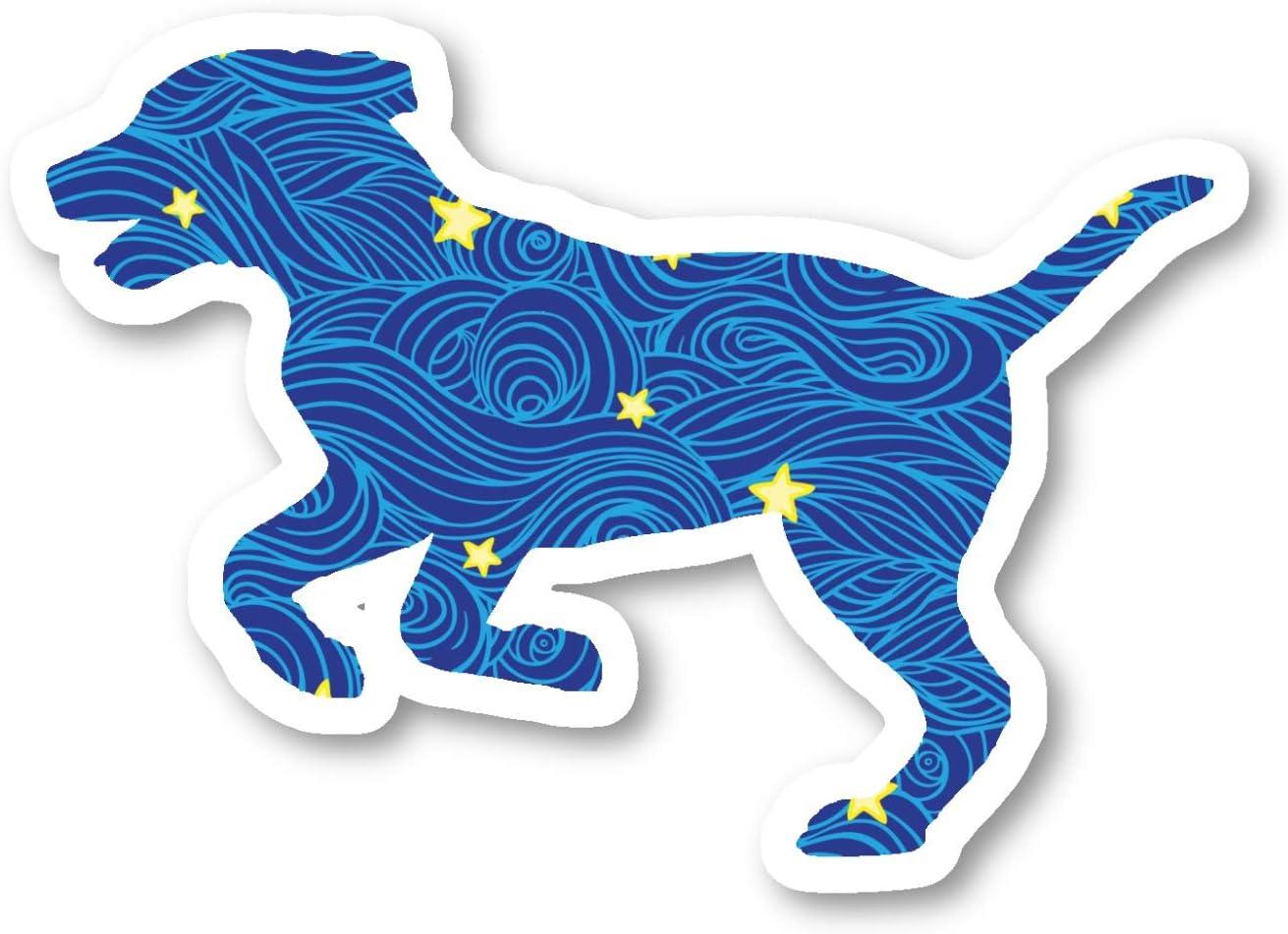 Dog Running Sticker Blue Spirals and Stars Stickers - 2 Pack - Laptop Stickers - 2.5