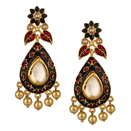 77aa8a0b6 Amazon.com: Efulgenz Indian Bollywood 14K Gold Plated Crystal Kundan Pearl  Leaf Floral Chandelier Dangle Earrings Jewelry Set: Jewelry
