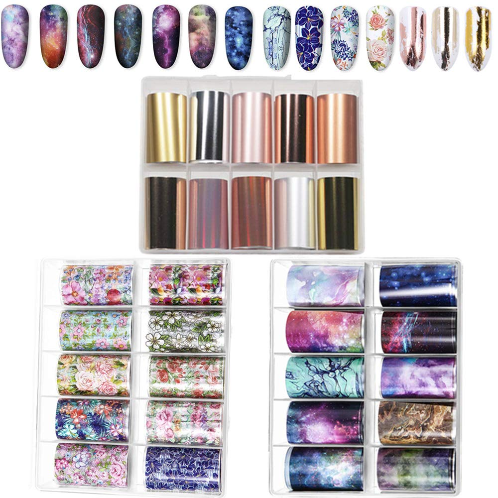 30 Colors Nail Foil Transfer Sticker, Kalolary Holographic Flower Starry Sky Metallic Nail Art Stickers Tips Wraps Foil Transfer Adhesive Glitters Acrylic DIY Nail Decoration(3 Boxes/Big Size) by Kalolary