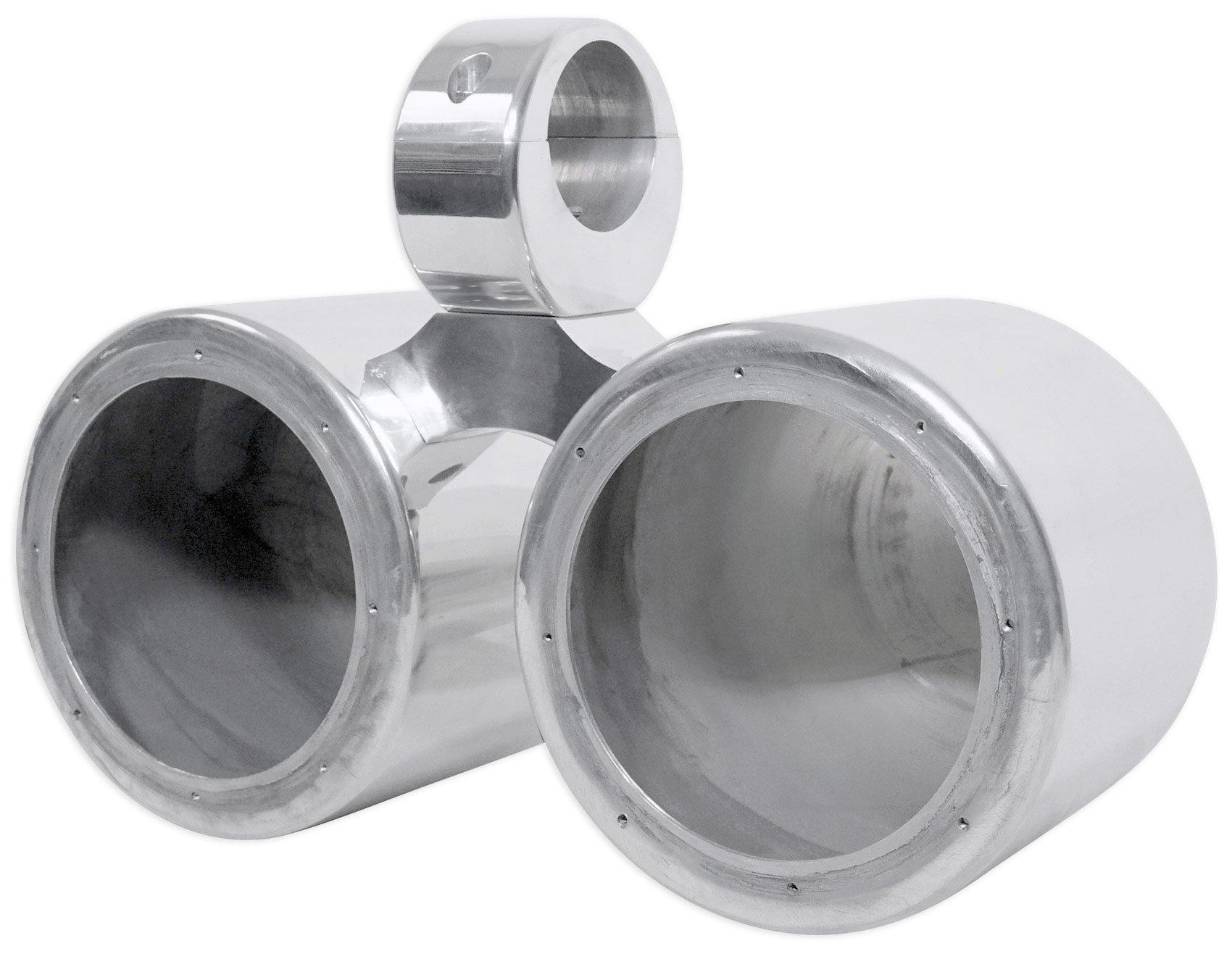 Rockville Dual 6.5'' Polished Silver Aluminum Wakeboard Tower Speaker Enclosure