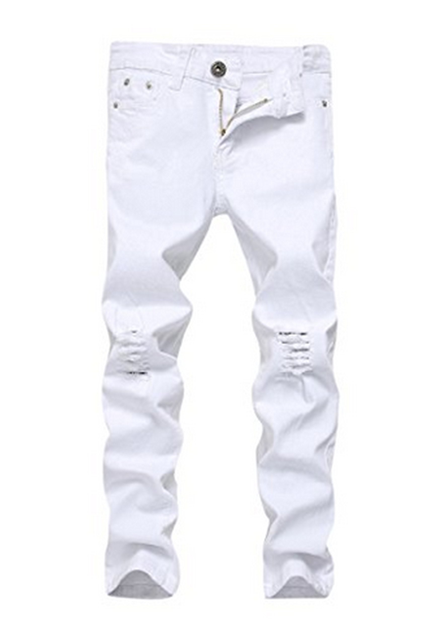 Boy's Casual Stretch Skinny Fit Ripped Destroyed Distressed Fashion White Slim Denim Jeans 12