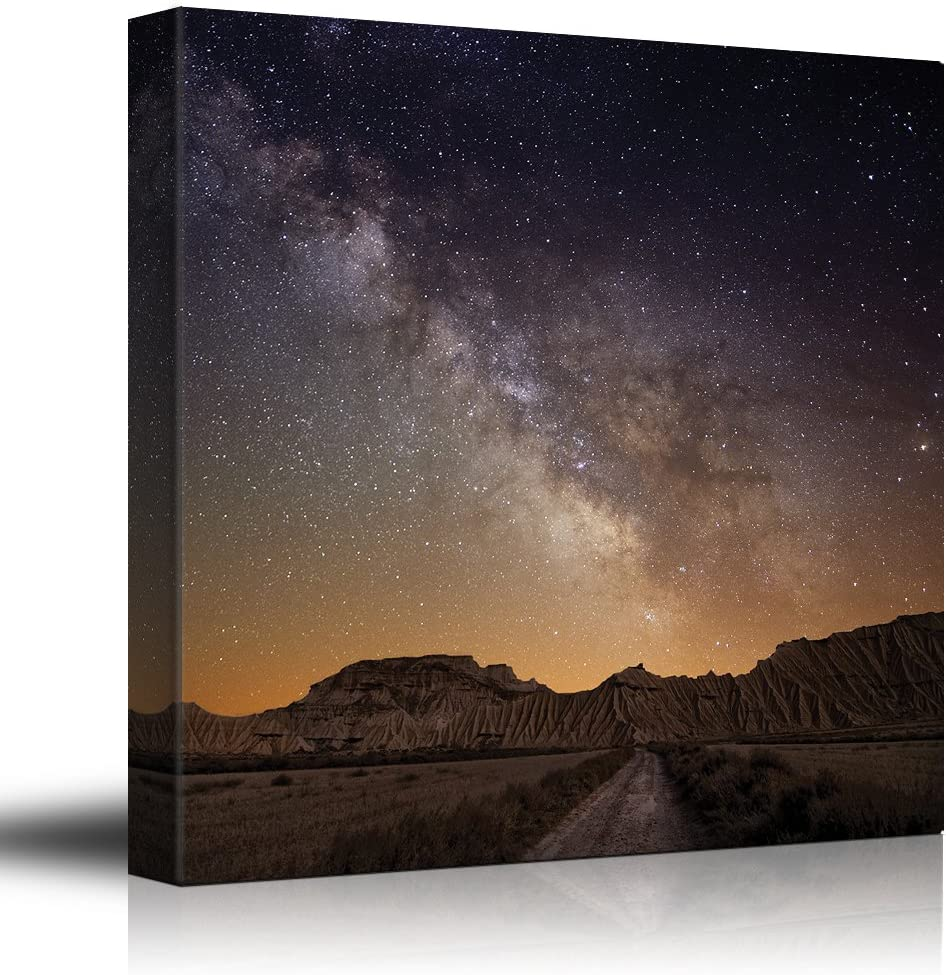 Road Leading to The Mountains with a Starry Galaxy Behind Them - Canvas Art Home Art - 12x12 inches