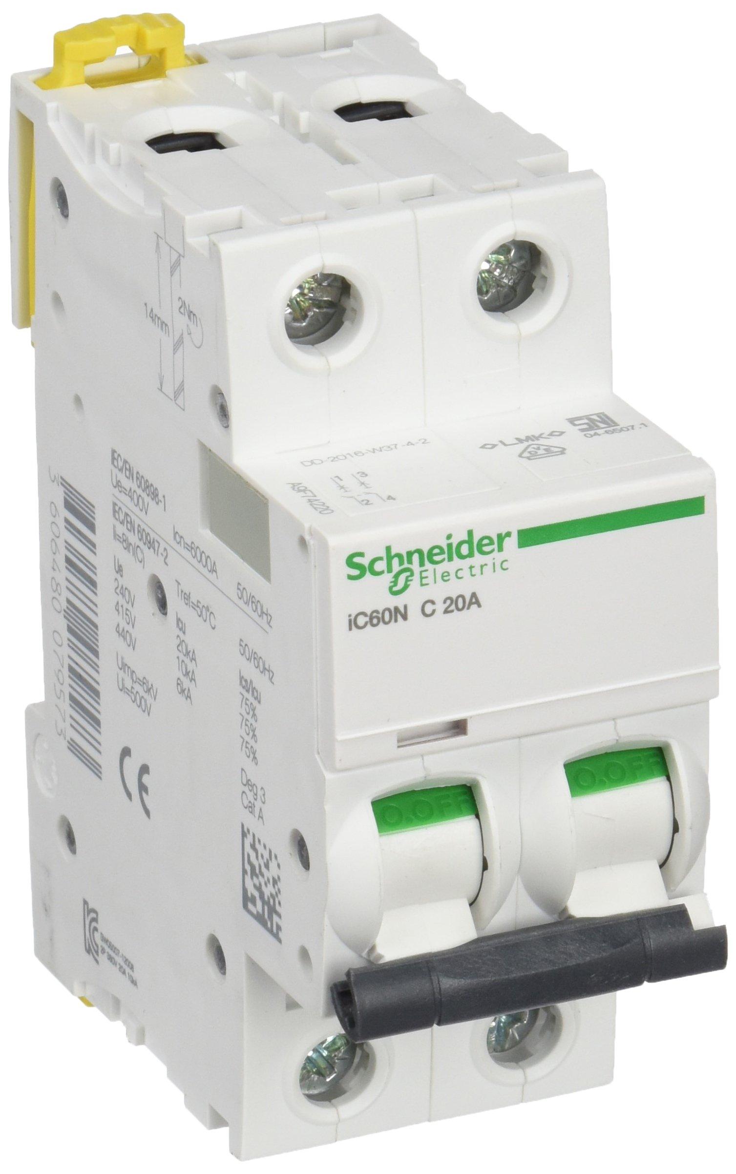 Schneider A9F74220 iC60N 2P 20A C MCB Miniature Circuit Breaker, White, Set of 6 Piece