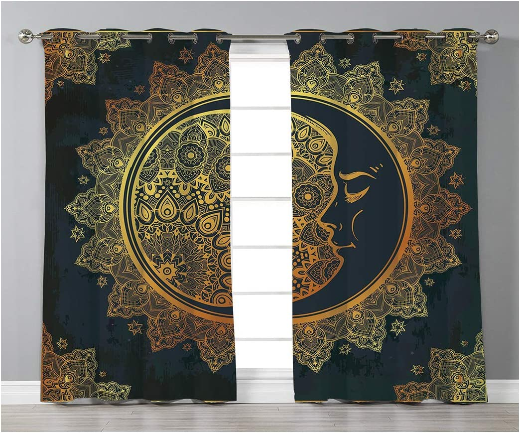 Goods247 Blackout Curtains,Grommets Panels Printed Curtains for Living Room Set of 2 Panels,52 by 95 Inch Length ,Gold Mandala
