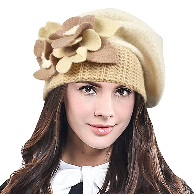 0bf929178f1f9 HISSHE Lady French Beret 100% Wool Beret Chic Beanie Winter Hat HY023  (Cream)