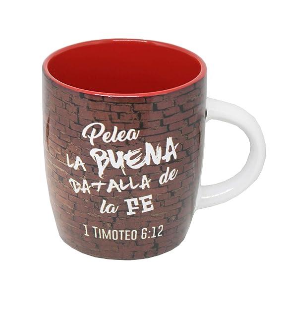 Amazon.com | Taza Biblica Pelea la Buena Batalla de la Fe ...
