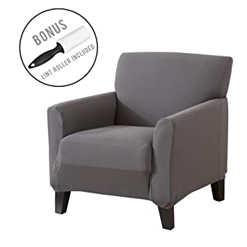 Form Fit Furniture Protector Featuring Super Soft Jersey Knit Fabric Strapless Slipcover Includes Bonus Lint Roller Slip Resistant Chair, Burgundy Seneca Collection