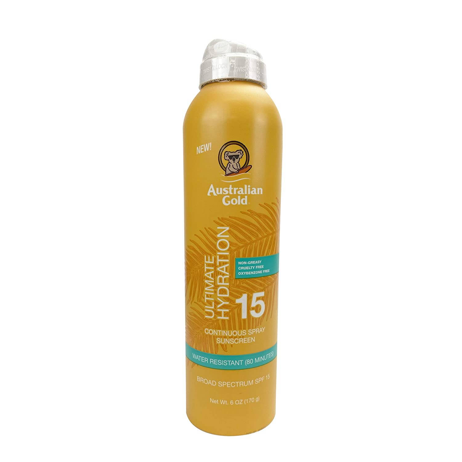 Australian Gold Continuous Spray Sunscreen SPF 15, 6 Ounce   Dries Fast   Broad Spectrum   Water Resistant   Non-Greasy   Oxybenzone Free   Cruelty Free