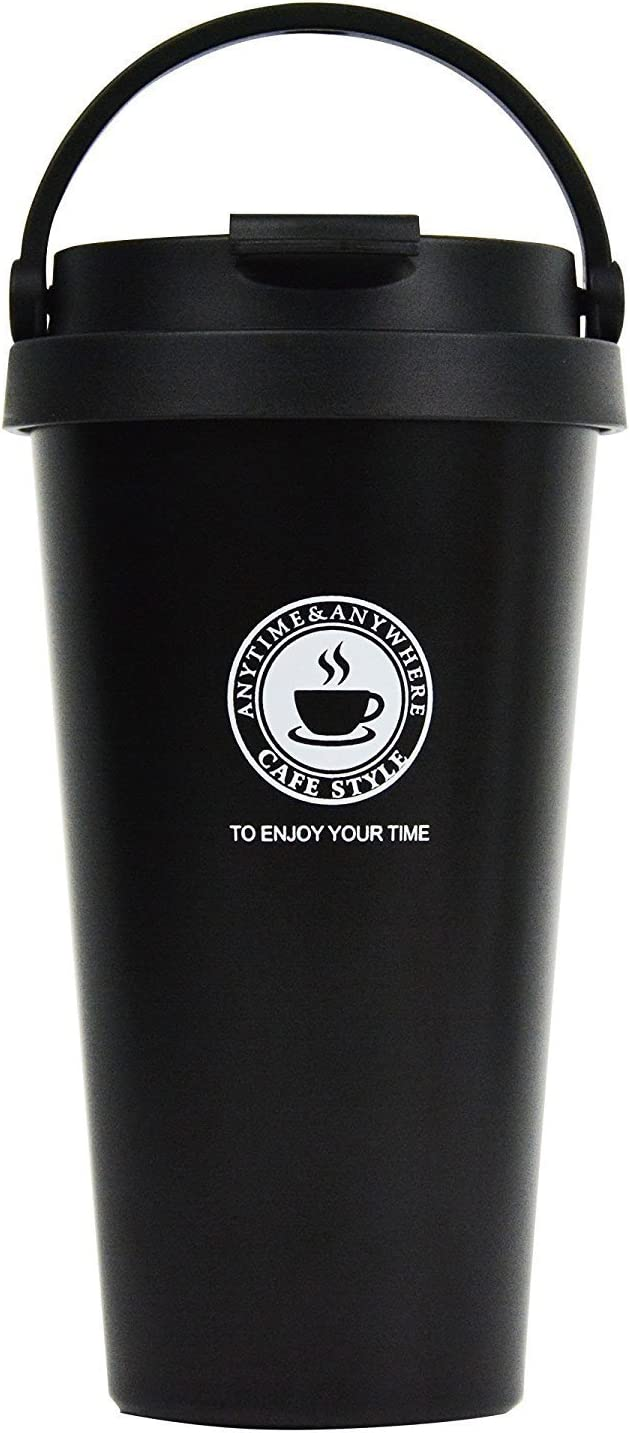 18/8 Stainless Steel Double Wall Vacuum Insulated Travel Coffee Mug with Handle/Portable Thermal Cup,Wide Mouth Tumbler with Leak Proof Lid,17oz,Black